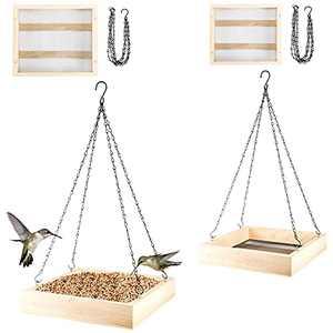 2 Pack Hanging Wooden Bird Feeder Trays- 10 x 10 x 3-inch, 12 x 12 x 3-inch Cedar Platform Tray Bird Feeder with 4 Chains for Patios Yards Gardens Outdoors