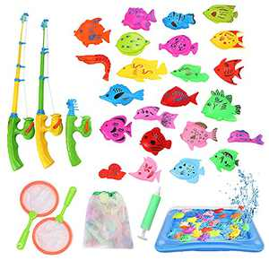 ckotisw Fishing Toys for Toddlers, Magnetic Fish for Kiddie Pool, Water Table or Bath Fun for 3 4 5 6 Year Old Boys Girls