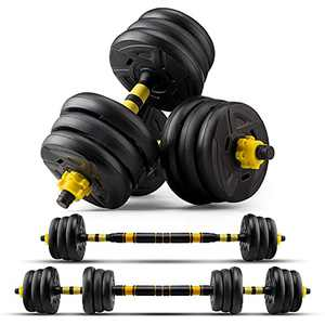 zybeauty Adjustable Dumbbells, 44Lbs(20kg) Weight Set, Dumbbells to Barbells with Connecting Rod, Non-Slip Handles Home Gym Equipment for Men and Women Workout Exercise Training