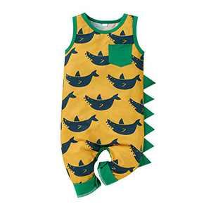 Newborn Infant Baby Boy Romper Jumpsuit (0-18M),Dinosaur Shark Printed Sleeveless Bodysuit Boys Summer Outfits