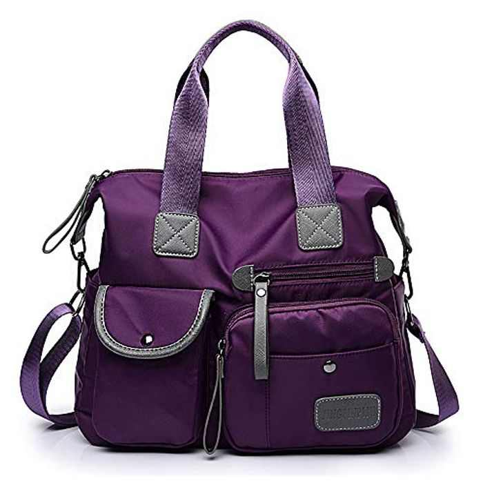 S.CHARMA Women Handbag Multi Pocket Large Shoulder Bag Crossbody bag Messenger Bag Tote Handbag Hobo Bags for Travel, Shopping and Work (Medium-sized Purple)