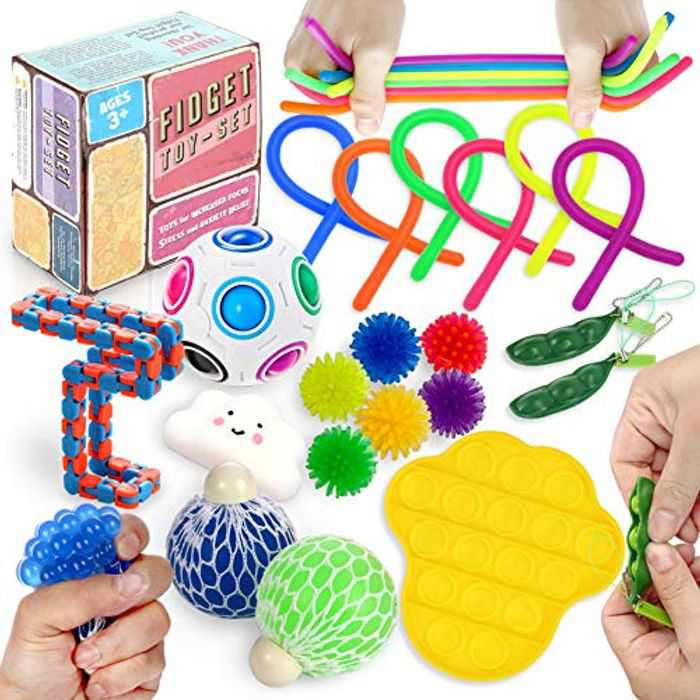 OleOletOy 2021 Upgraded Sensory Fidget Toy Set 20pcs Anxiety Stress Reliever Special Need Squeeze Balls Bubble Push Stretchy String Soybean Wacky Chain Rainbow Ball Magic Cube for Kids and Adults