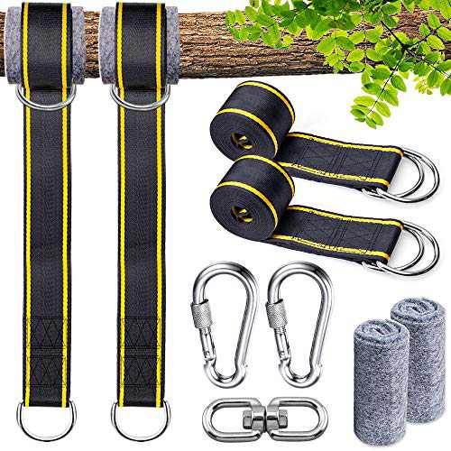 DCLYSI Tree Swing Strap Hanging Kits Straps for Swing Adjustable 10ft Extra Long Holds 2800lbs Heavy Duty Carabiner, Spinner and Tree Protectors for Any Hammocks or Swings-2 Packs