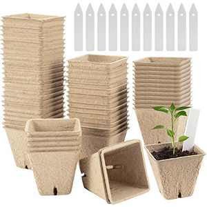 """60pcs 2.4"""" Square Peat Pots for Seedlings- Biodegradable Plant Seed Starter Peat Pots with 4 Holes Eco-Friendly Germination Seedling Trays with Bonus 30pcs Plant Markers for Vegetable Seed Germination"""