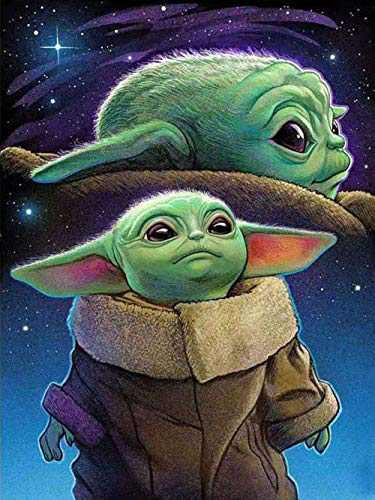 (Canvas Size: 13.8 x 17.7 inch) DIY 5D Diamond Painting Kits for Adults, Baby Yoda Round Full Drill Crystal Embroidery Diamond Gem Arts Cross Stitch Paint by Number for Beginer Home Wall Decor