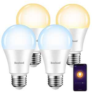 Smart Light Bulbs, Boxlood Smart Bulb That Work with Alexa Google SmartThings Siri, No Hub Required, E26 A19 WiFi Light Bulbs Warm White to Cool White Tunable, Dimmable, 7W 600lm 60W Equivalent 4Pack