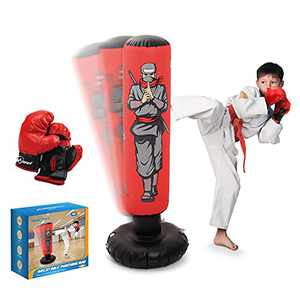 """Inflatable Kids Punching Bag with Boxing Gloves, 47"""" High Free Standing Bounce Back Bag for MMA, Karate, Taekwondo and Kick, Gifts for Kids, Boys and Girls"""