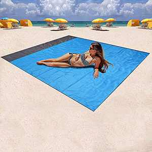 "Mumu Sugar Sand Free Beach Blanket, Large Oversized Waterproof Quick Drying Ripstop Nylon Compact Outdoor Beach Mat Best Sand Proof Beach Mat for Travel, Camping, Hiking and Music Festivals(82"" X79"")"