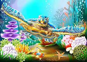 DIY 5D Diamond Painting Kits for Adults Kids Sea Turtle Full Drill Round Diamond Gem Art Beads Painting for Kids Perfect for Home Wall Decor(Canvas Size:12x16inch/30x40cm)