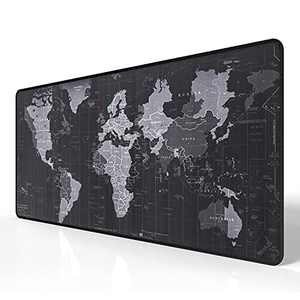 Extended XXL Gaming Mouse Map Pad 35.4X15.74X0.12 Inch,HD World Map Mouse Pad,with Non-Slip Base,Waterproof and Foldable Pad,Desktop Pad Suitable for Gamers,Suitable for Desktop,Office and Home
