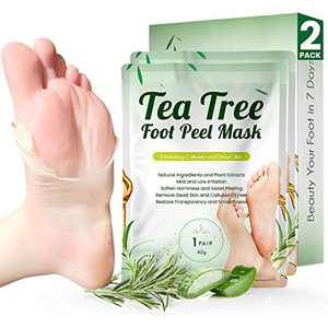 Tea Tree Foot Peel Mask For Dead Skin, Callused and Cracked Heels, Foot Mask Removes Rough Heels Dry Dead Skin,Makes Foot Soft Smooth Skin- 2 PACK