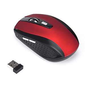 2.4Ghz Wireless Gaming Mouse with USB Receiver ,Silent Click,7 Colors Backlit,3600DPI, for MacBook, Computer PC, Laptop (Red)