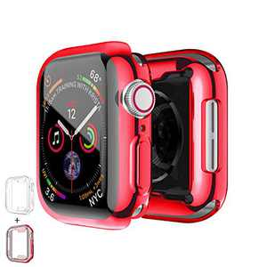 PROATL 360-Degree Case for Apple Watch Series SE/6/5/4/3/2/1 Screen Protector 38mm 42mm 40mm 44mm, [2 Pack] Soft TPU All-Around Clear Protective Case Cover( 42mm, Transparent+ Red)
