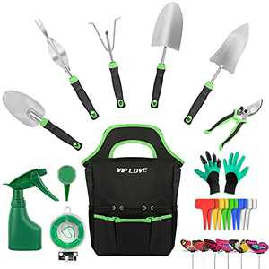 VIP LOVE Garden Tool Set - 27 Piece Stainless Steel Heavy Duty Gardening Tool Kits with Non-Slip Ergonomic Handle Tools, Durable Storage Bag, Gifts for Women/Parents