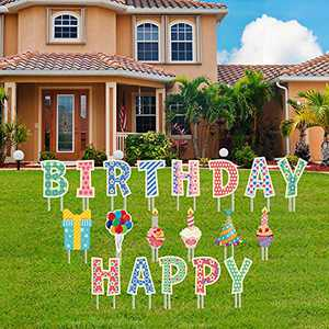 """Fanboxk 19Pcs Happy Birthday Yard Signs with Stakes - 15"""" Large SizeHappy Birthday Waterproof Lawn Decorations - Happy Birthday Sign for Yard for Kids & Adults - 38 Total Stakes"""