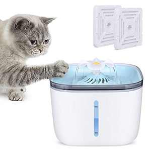 Sorlakar Cat Water Fountain,2L Flower Cat Fountain Upgraded Dog Cat Water Dispenser with 2 Replacement Filters,Intelligent Pump with LED Indicator for Water Shortage Alert for Cats and Dogs (Blue)