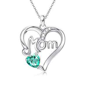 MUSECLOUD 925 Sterling Silver Mom Necklace Birthstone Jewelry Love Heart Pendant Mothers Necklace for Women Mama Aunt Grandma Mothers Day Birthday Christmas Gifts (May. Birthstone Emerald Green CZ)