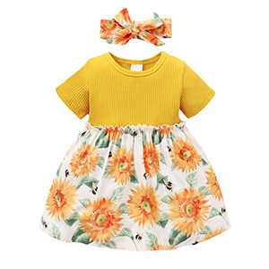 ZOEREA Toddler Baby Girl Dresses 6M-3Y Infant Baby Girl Clothes Cute Flower Decoration Casual Princess Party Dress Headband + Skirt Outfits