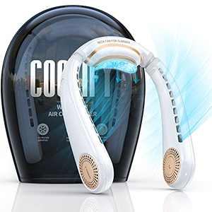 TORRAS Coolify Portable Air Conditioner Neck Fan, Hands Free Semiconductor Cooling Bladeless Fan, 4000 mAh Rechargeable Leafless Mini USB Fan for Outdoor/ Home/ Office, 3 Speeds, Pearl White