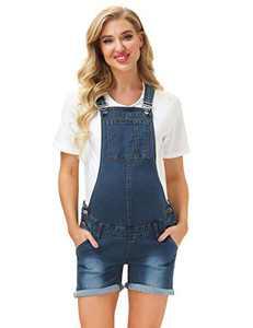 Indigo Blue Denim Overalls Side Panel Skinny Overalls for Pregnant Women Navy Blue S