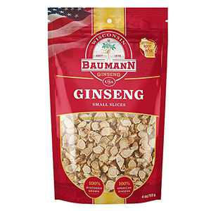Baumann American Ginseng Small Slice, 100% Wisconsin Grown Premium Ginseng, Natural Hand-Selected Herbal Dietary Supplements – 4oz