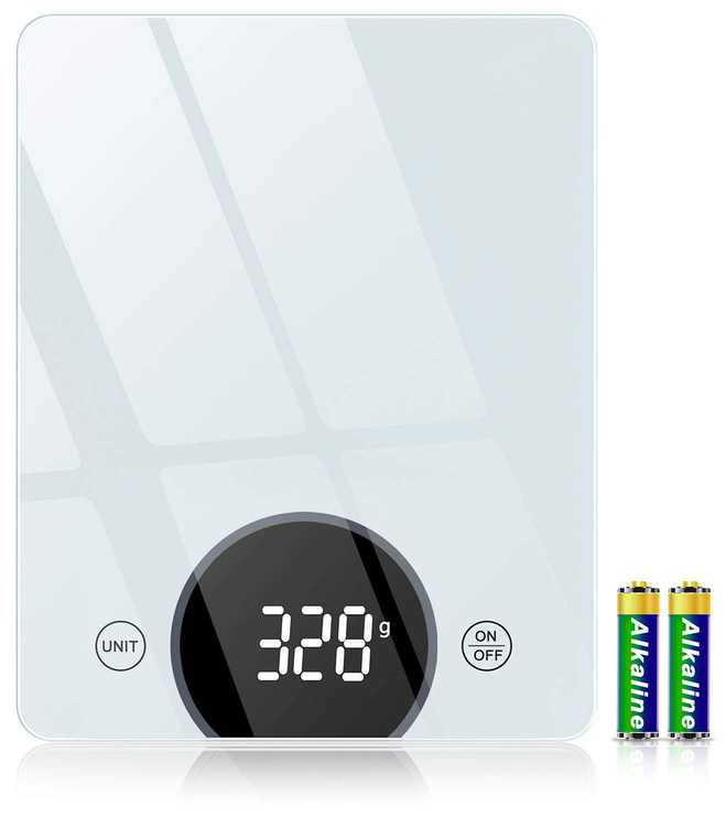 Kitchen Scales Digital, Cocoda 10 kg/22 lb Tempered Glass Platform Food Weighing Scales up to 1g Precision, Tare Function, LED Display, 4 Units Kitchen Scale Grams and Oz for Cooking, Baking