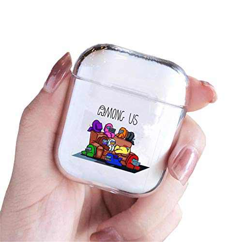 Among US Case for Apple Airpods 2 & 1, Case Clear Imposter Among Cute Funny Kawaii Character Astronaut Air pods Cover Designer Silicon Protective Case for Kids Teen Girls Women Boys Among Us Game Fan