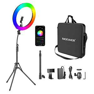 Neewer 18-inch RGB Ring Light with APP Control, 42W Dimmable Bi-Color 3200K-5600K CRI 97+ LED Ring Light with Stand, 0-360 Full Color, 9 Scenes Effect for Selfie/Makeup/Party/Vlog/YouTube/Photography