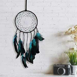 LED Dream Catcher Wall Decor Blue Black Feather Art Ornament Handmade Gift for Kids Girls DAYFULI Home Bedroom Hanging Craft