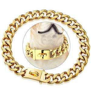 "PRADOG Gold Chain Dog Collar Designer Dog Cuban Link Chain Collar with Safty Design Buckle 19mm Metal Stainless Steel Training Walking Training Collar(19MM, 12"")"
