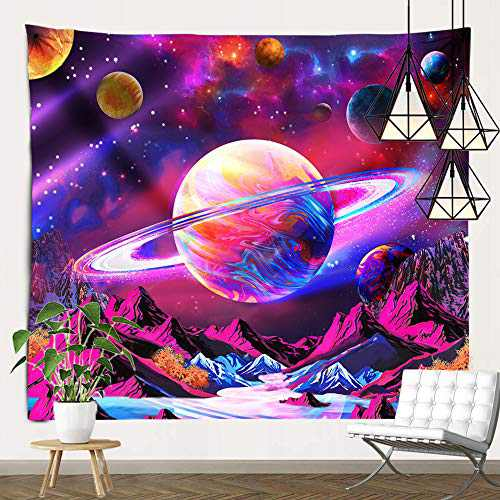 pinata Trippy Planet Tapestry Psychedelic Galaxy Wall Hanging Mountain Blacklight Fantasy Tapestry for Bedroom Home Decor