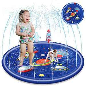 LORDZMIX Splash Pad for Kids Toddler Baby Toy Sprinkler 68inch,Summer Outdoor Water Toy Gifts for 1 3 5 7 9 11 Year Old Boys Girls Children Yard Water Play Games Splash Wading Pool Sprinkler Mat