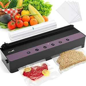 Vacuum Sealer Machine: TowerTop Quick Seal Food Vacuum Sealer for Dry Moist Food with Bags, Built-in Cutter, LED Indicators, Washable Kitchen Food Saver Machine-Included 1 Roll and 5 Cut Bags