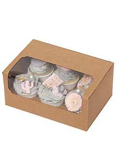 """Yotruth 50 Packs Cupcake Boxes For Six Holders,Karft Cupcake Carrier 10"""" x 7"""" x 3.5"""" Brown Auto-Popup Bakery Boxes for Paking"""