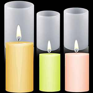 3 Pieces Cylindrical Resin Molds Silicone Cylindrical Candle Molds Flower Pots Molds Epoxy Casing DIY Molds for Soap Holder Jewelry Stand Flower Pots Making Supplies, 2 Sizes