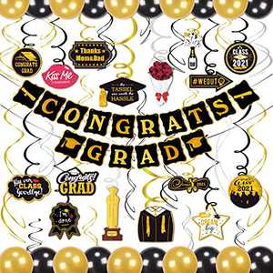 kortes Black and Gold 2021 Graduation Decorations Kit, 2021 Congrats Grad Banner 30pc Hanging Swirls Graduation Balloons for Grad Party Decorations Supplies