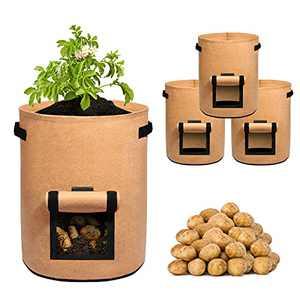 Delxo Potato Grow Bag,3-Pack 10 Gallon Grow Bags Heavy Duty Aeration Fabric Pots Thickened Nonwoven Fabric Pots Plant Grow Bags in Brown