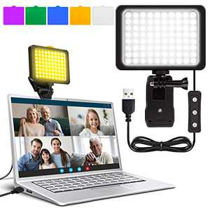 Idefair LED Desk Lamp - Video Conference Lighting for Laptop/PC Clip on Ring Light, 10 Brightness Dimmer Webcam Light for Remote Working/Self Broadcasting/Live Streaming