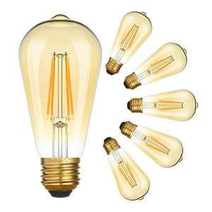 OmiBrite LED Edison Bulb Non-Dimmable 2200K Amber Warm 700LM, 7.5W = 60W, E26 Amber Glass ST19 Vintage Design for Bedroom, Reading Room, Bar, Cafe, Diner Decoration, 6/Pack