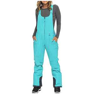 ASOT Womens Snow Pants Adjustable Back Strap Pants,Women's Insulated Bib Overalls Solid Color, Pocket, One-Piece Suspenders Trousers Outdoor Ski Trousers