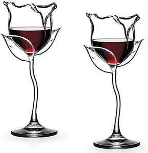 Wine Glasses Red Wine Goblet Wine Cocktail Glasses Rose Flower Shape Lead-Free Wine Glass for Party Dinner Wedding Festival