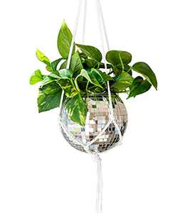 """Havenstone Home Hanging Disco Ball Planter 8"""" - with Macrame Plant Hanger - for Indoor or Outdoor Plants - Includes Soft Macrame Cotton Rope Hanger - Home Décor, Room Décor, Patio or Boho Décor"""