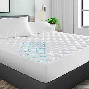 Minoroty Twin Size Mattress Pad Cover, Quilted Mattress Pad Protector Breathable Mattress Topper, Fitted Sheet Mattress Cover Upto 21'' DEEP Pocket, White