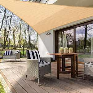 MOVTOTOP Triangle Sun Shade Sails 12' x 12' x 12', 185 GSM Thicker Outdoor Shade Block 95% UV Keep Cool for Deck, Patio, Pergola, Backyard Outdoor