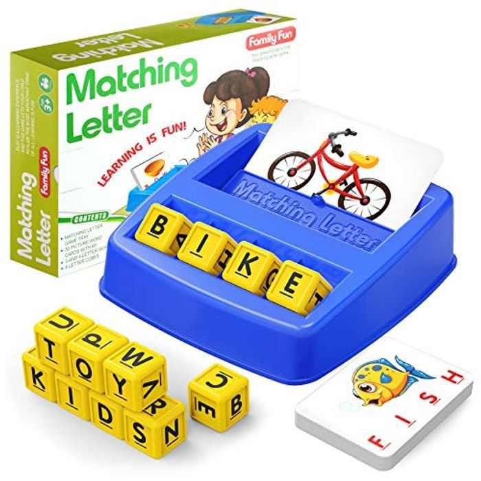 HahaGift Educational Toys for 3 4 5 Year Old Boys Gifts, Matching Letter Scrabble Board Game Learning Toys for 2 3 4 Year Olds, Letter Spelling and Reading Learning Montessori Toys for 2 3 Year Olds
