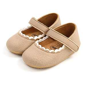 TMEOG Baby Soft Rubber Sole PU Leather Shoes Toddler First Walkers Infant Newborn Baby Dresses Casual Shoes Seasons (Fanmo, 6_Months)