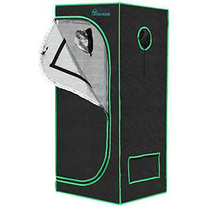 """YITAHOME 24""""x24""""x64"""" Grow Tent 1680D 2'x2' Reflective Mylar Hydroponic Canvas Grow Room with Observation Window and Floor Tray for Indoor Plant Growing"""