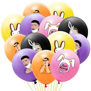 52Pcs Bunny Rapper Party Balloons Rabbit Themed Balloon Music Party Favors Latex Helium Balloon Birthday Party Decoration Supplies for Boys Girls Fans Orange Black Yellow Pink Purple Balloon