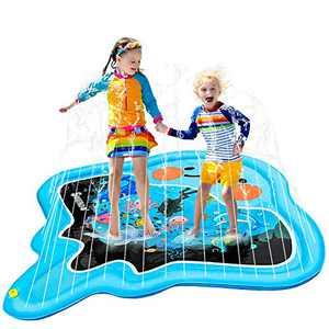 "SuSenGo Splash Pads Sprinkler Mat for Kids Toddler, Large Size 82"" Wading Pool Inflatable Water Outdoor Toys for Baby Splash Sprinkler Summer Toys Devil Fish Water Pool Toy"