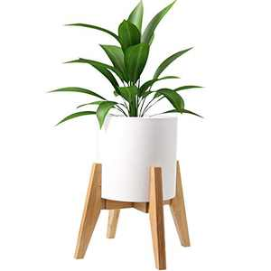 HOKEMP Plant Stand Mid Century Wood - Adjustable Width Flower Pot Holder, Fits Medium & Large Pots Sizes 8 9 10 11 12 inches (Pot Not Included) (Wood)